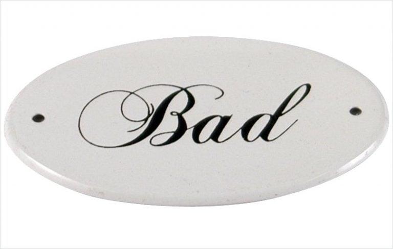 Skylt 'Bad'