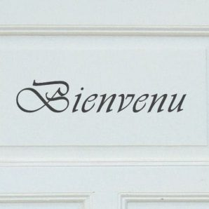 Schablon 'Bienvenu' i fransk lantstil