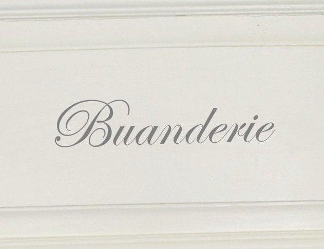 Schablon 'Buanderie' i fransk lantstil